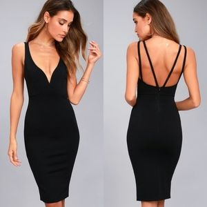 Lulu's Gracefully Yours Black Midi Dress {TH}